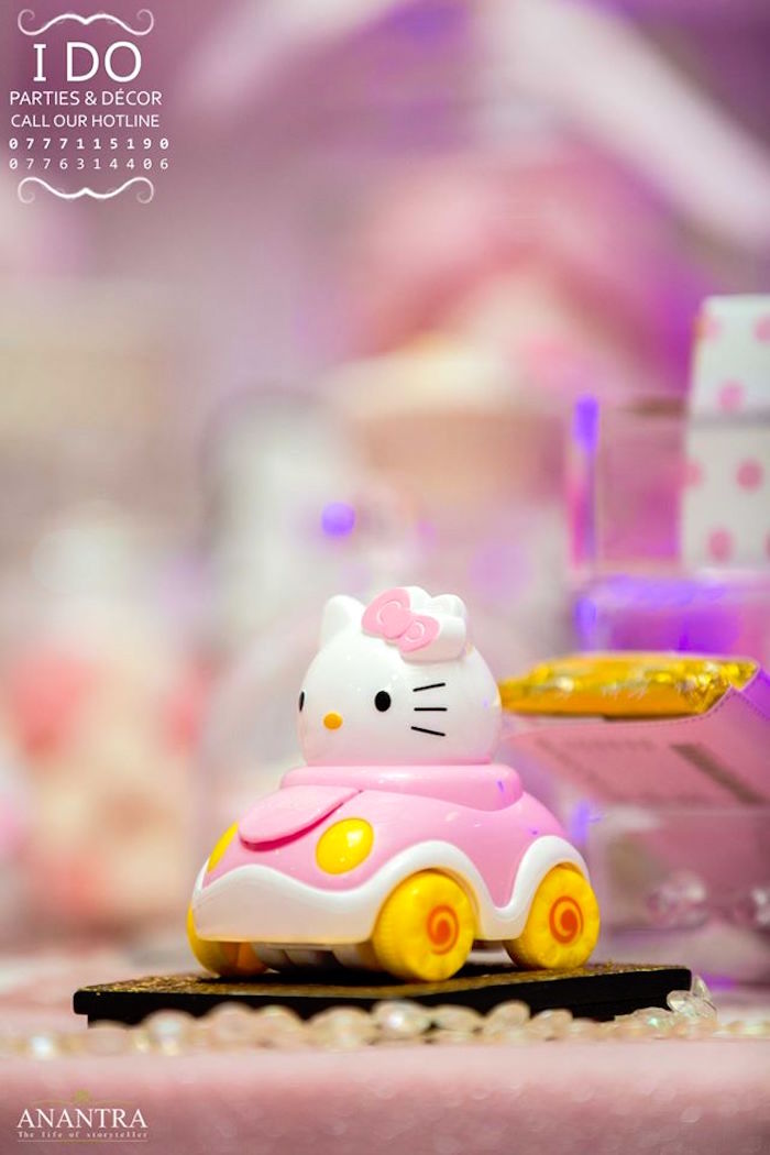 Hello Kitty Car from a Ruffled Hello Kitty Birthday Party on Kara's Party Ideas | KarasPartyIdeas.com (11)