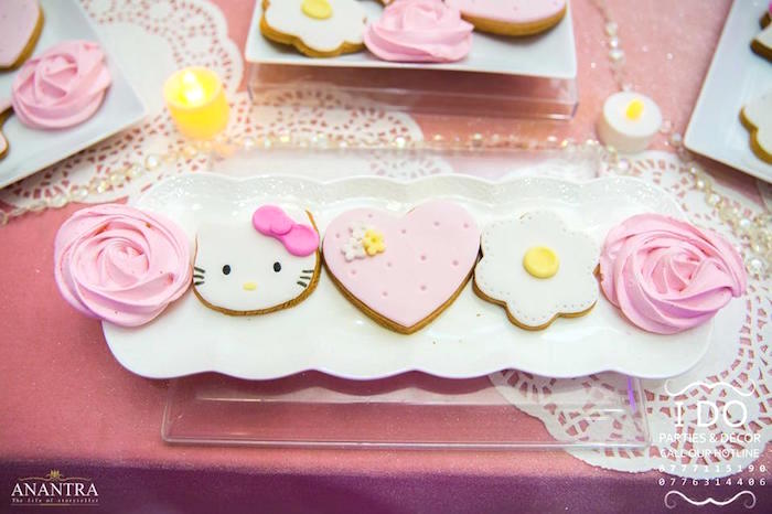 Hello Kitty Cookies from a Ruffled Hello Kitty Birthday Party on Kara's Party Ideas | KarasPartyIdeas.com (10)