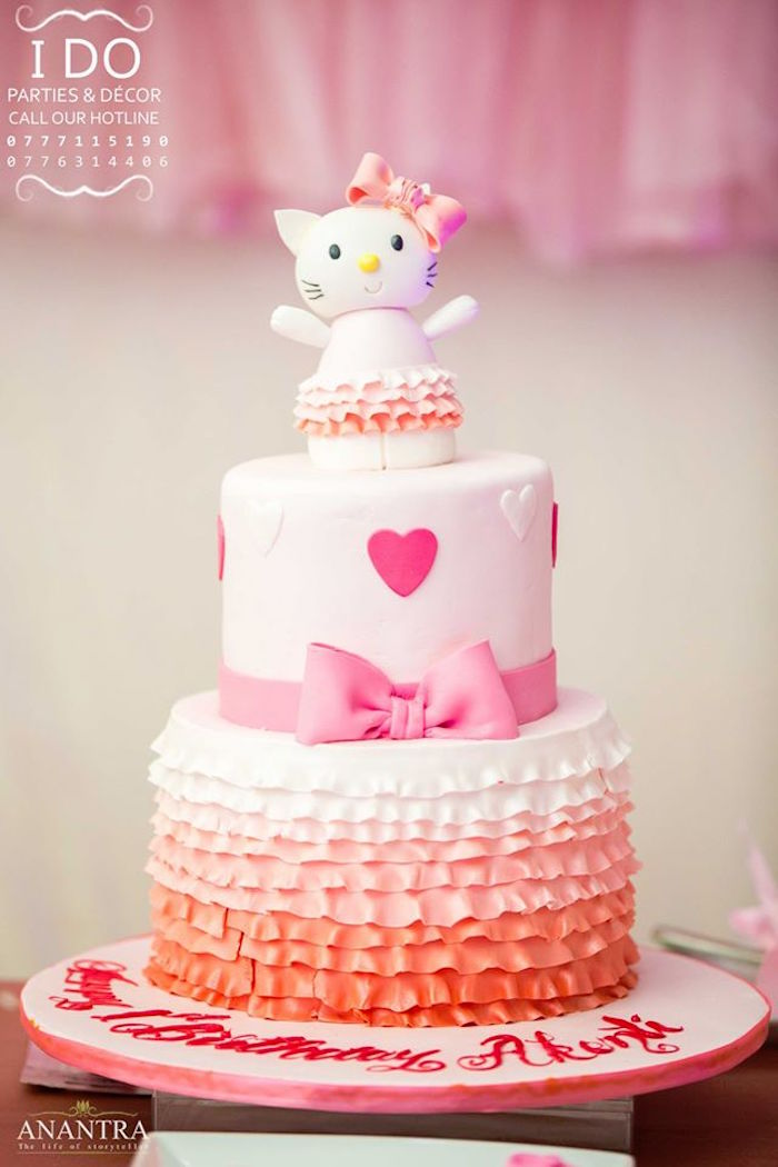 hello kitty birthday cake kara s ideas ruffled hello kitty birthday 4780