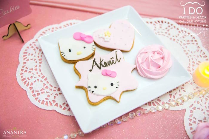 Hello Kitty Cookies from a Ruffled Hello Kitty Birthday Party on Kara's Party Ideas | KarasPartyIdeas.com (7)