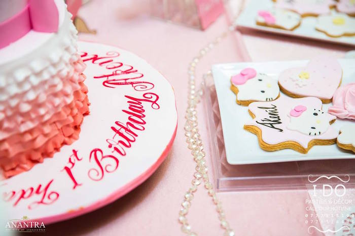 Table detailing from aRuffled Hello Kitty Birthday Party on Kara's Party Ideas | KarasPartyIdeas.com (6)