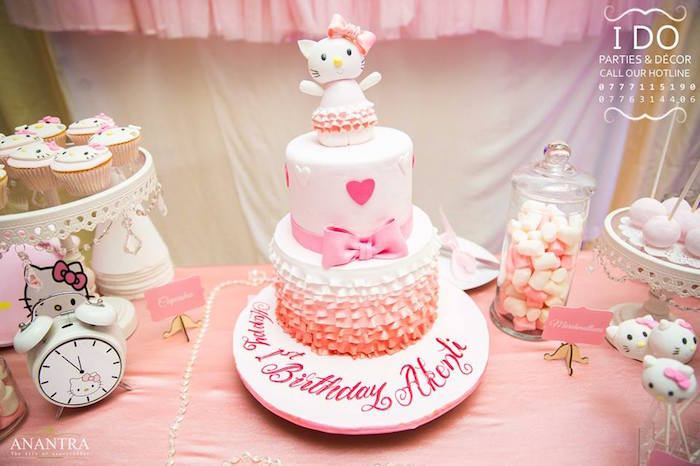 Cakescape from a Ruffled Hello Kitty Birthday Party on Kara's Party Ideas | KarasPartyIdeas.com (5)