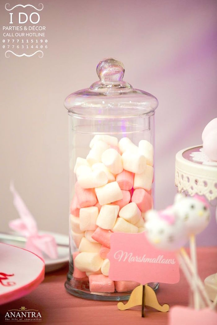 Pink & white marshmallows from a Ruffled Hello Kitty Birthday Party on Kara's Party Ideas | KarasPartyIdeas.com (23)