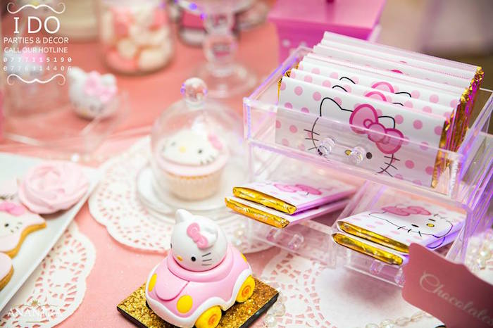 Hello Kitty candy bars from a Ruffled Hello Kitty Birthday Party on Kara's Party Ideas | KarasPartyIdeas.com (4)