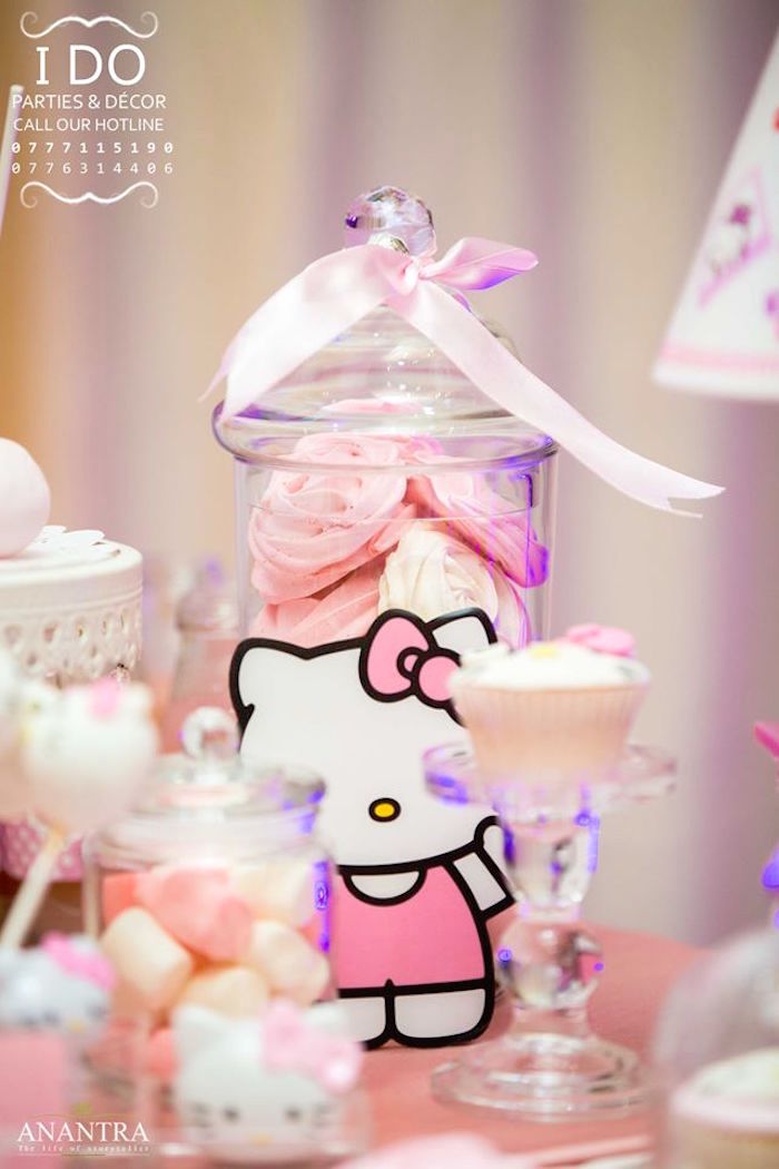 Apothecary sweet jar from a Ruffled Hello Kitty Birthday Party on Kara's Party Ideas | KarasPartyIdeas.com (21)
