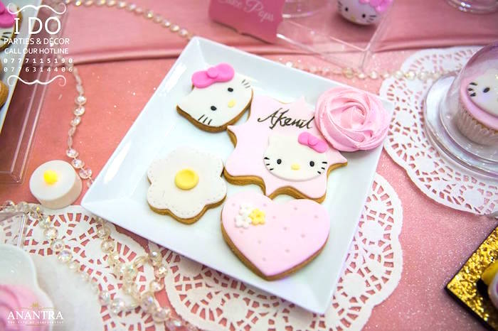 Hello Kitty Cookies from a Ruffled Hello Kitty Birthday Party on Kara's Party Ideas | KarasPartyIdeas.com (20)