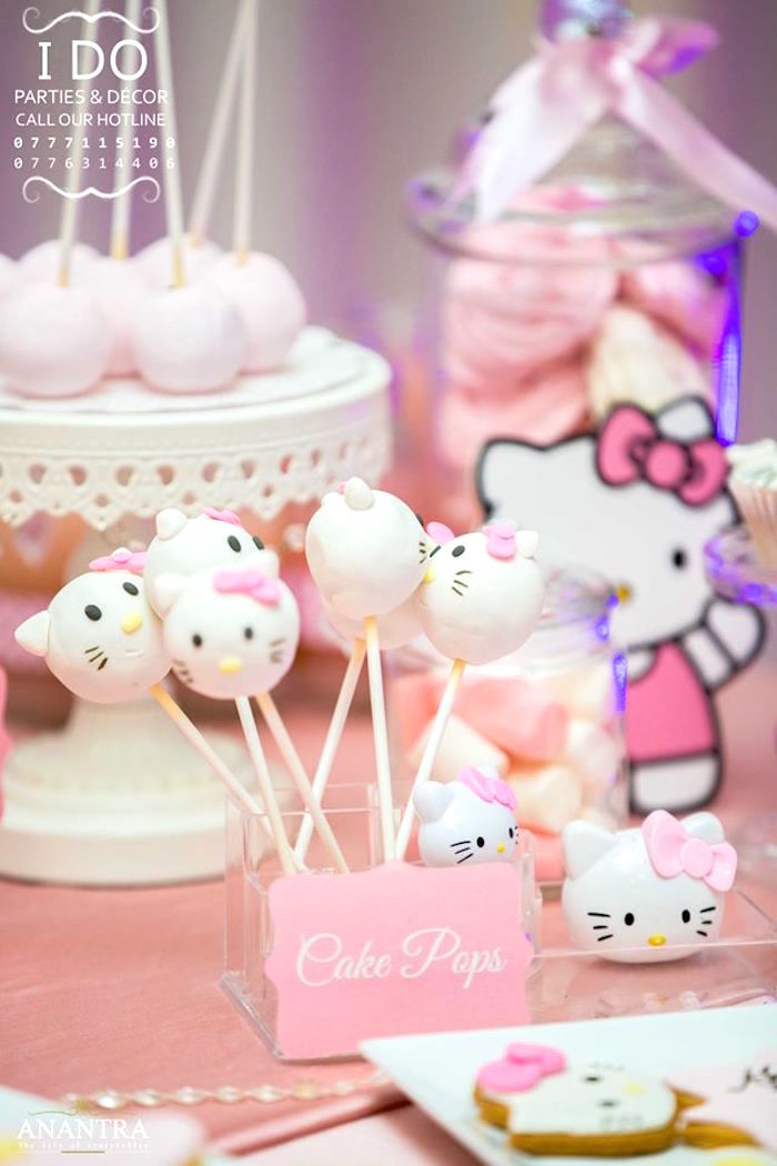 Hello Kitty Cake Pops from a Ruffled Hello Kitty Birthday Party on Kara's Party Ideas | KarasPartyIdeas.com (19)