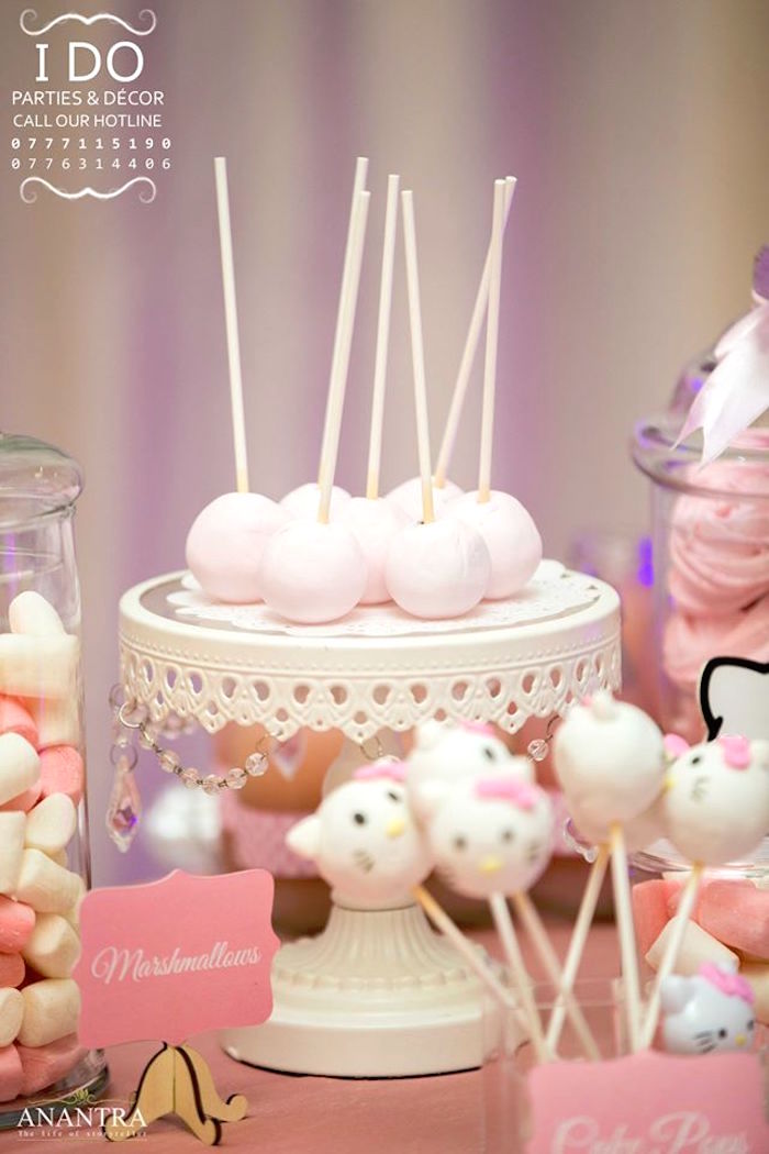 Cake pops from a Ruffled Hello Kitty Birthday Party on Kara's Party Ideas | KarasPartyIdeas.com (18)