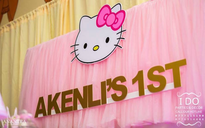 Karas Party Ideas Pink tulle Hello Kitty backdrop from a Ruffled