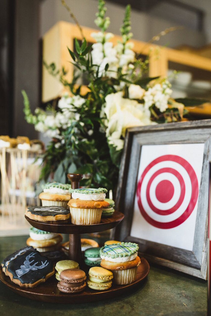 Cupcakes, macarons and sugar cookies from a Rustic Camping Baby Shower on Kara's Party Ideas | KarasPartyIdeas.com (25)