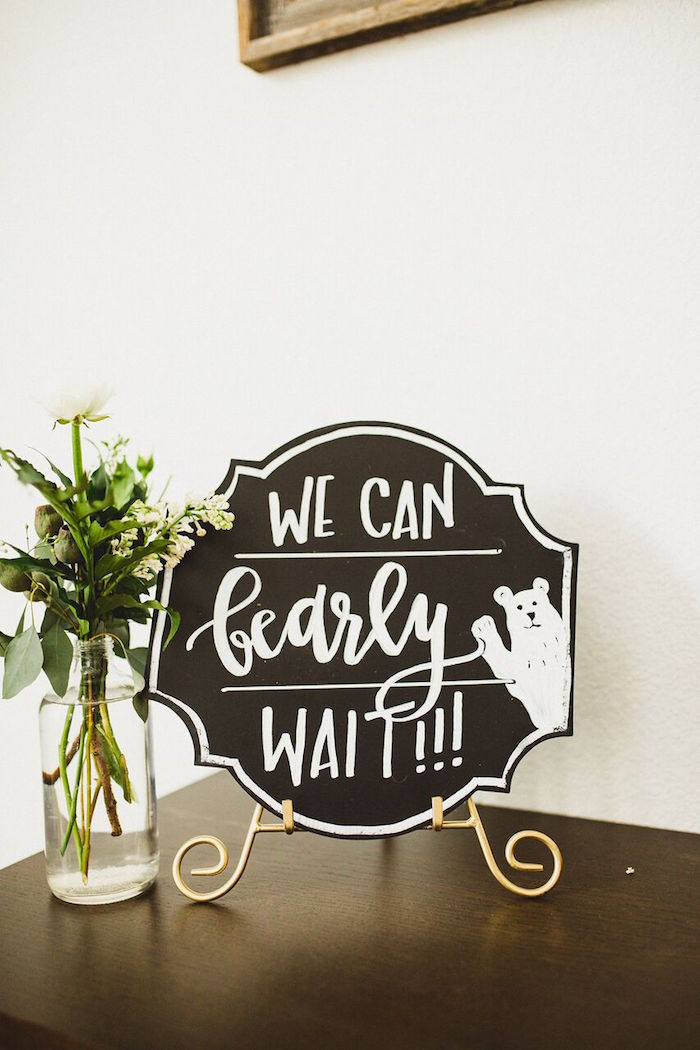 We Can 'Bearly' Wait chalkboard sign from a Rustic Camping Baby Shower on Kara's Party Ideas | KarasPartyIdeas.com (24)