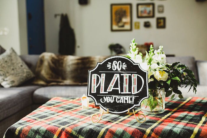 "So ""Plaid"" You Came chalkboard sign from a Rustic Camping Baby Shower on Kara's Party Ideas 