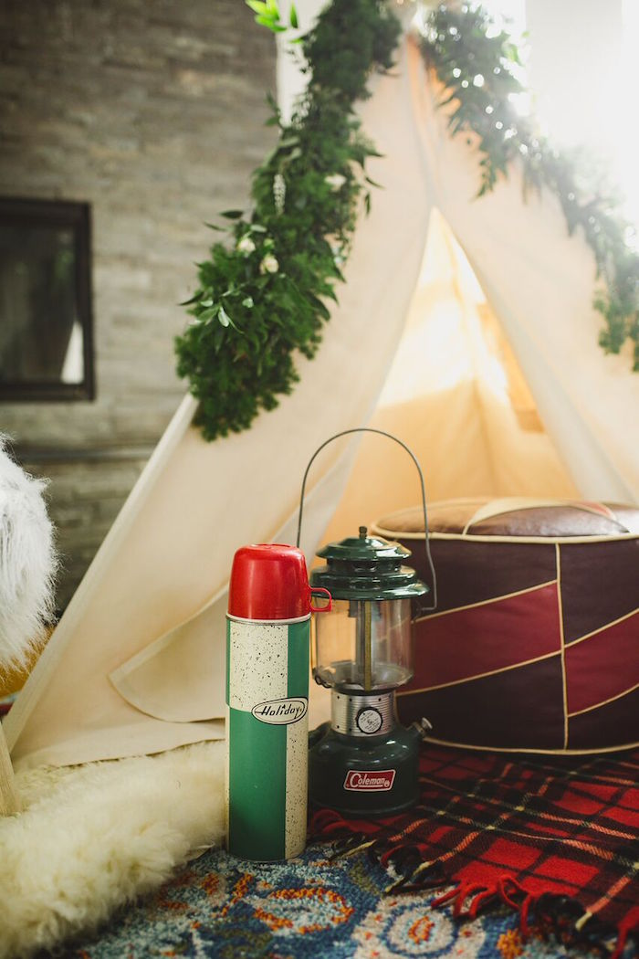 Lantern and thermos from a Rustic Camping Baby Shower on Kara's Party Ideas | KarasPartyIdeas.com (19)