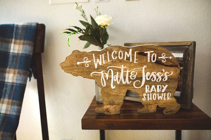 Wooden bear welcome sign from a Rustic Camping Baby Shower on Kara's Party Ideas | KarasPartyIdeas.com (17)