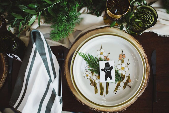 Place setting from a Rustic Camping Baby Shower on Kara's Party Ideas | KarasPartyIdeas.com (13)