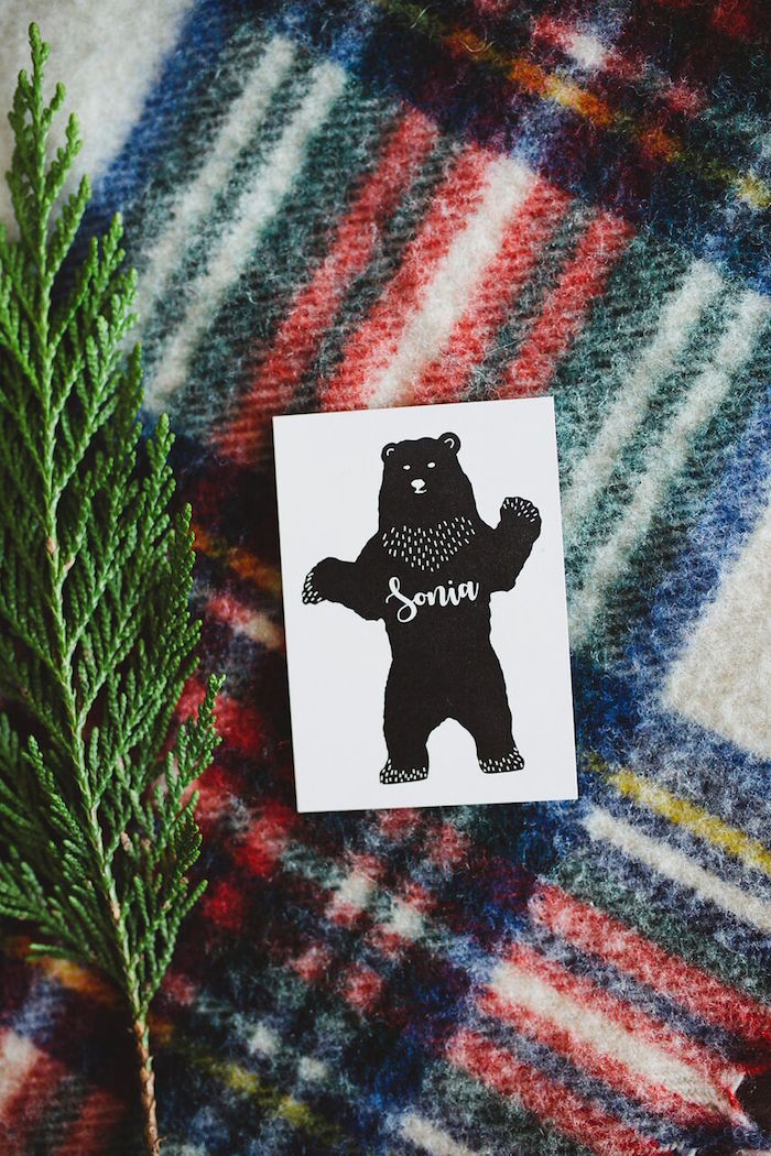 Bear place card from a Rustic Camping Baby Shower on Kara's Party Ideas | KarasPartyIdeas.com (11)