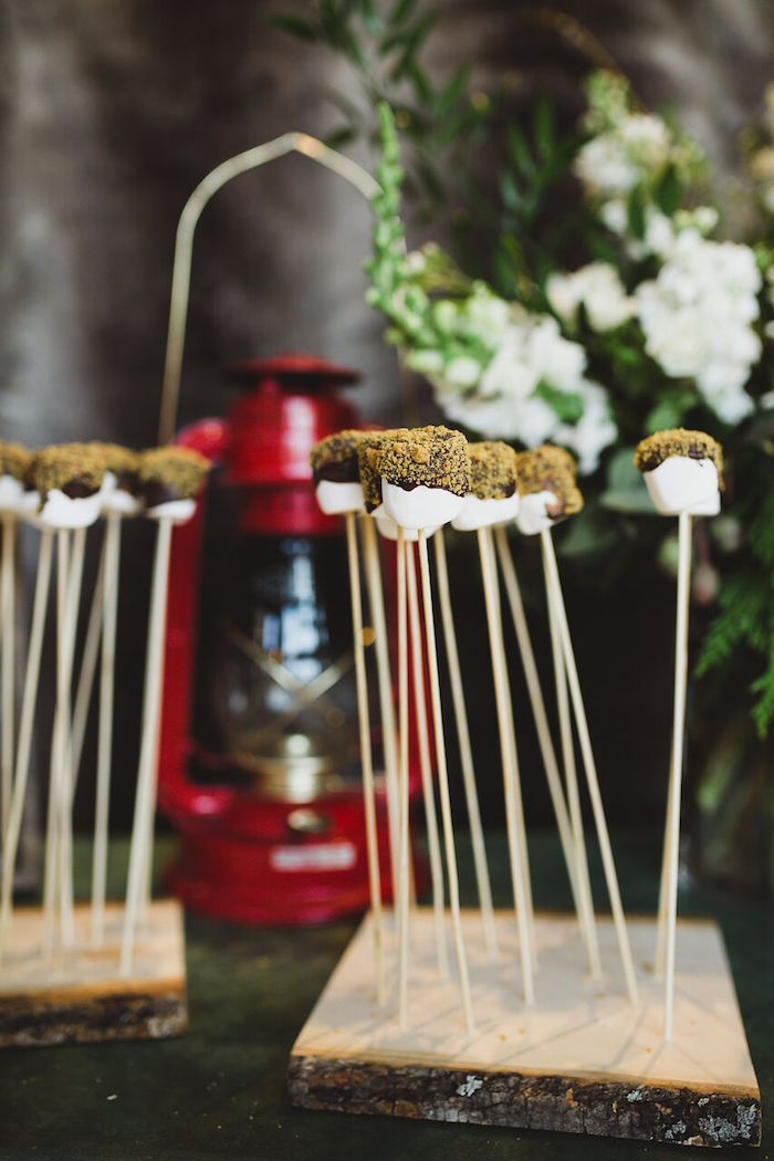 Chocolate marshmallow pops from a Rustic Camping Baby Shower on Kara's Party Ideas | KarasPartyIdeas.com (10)