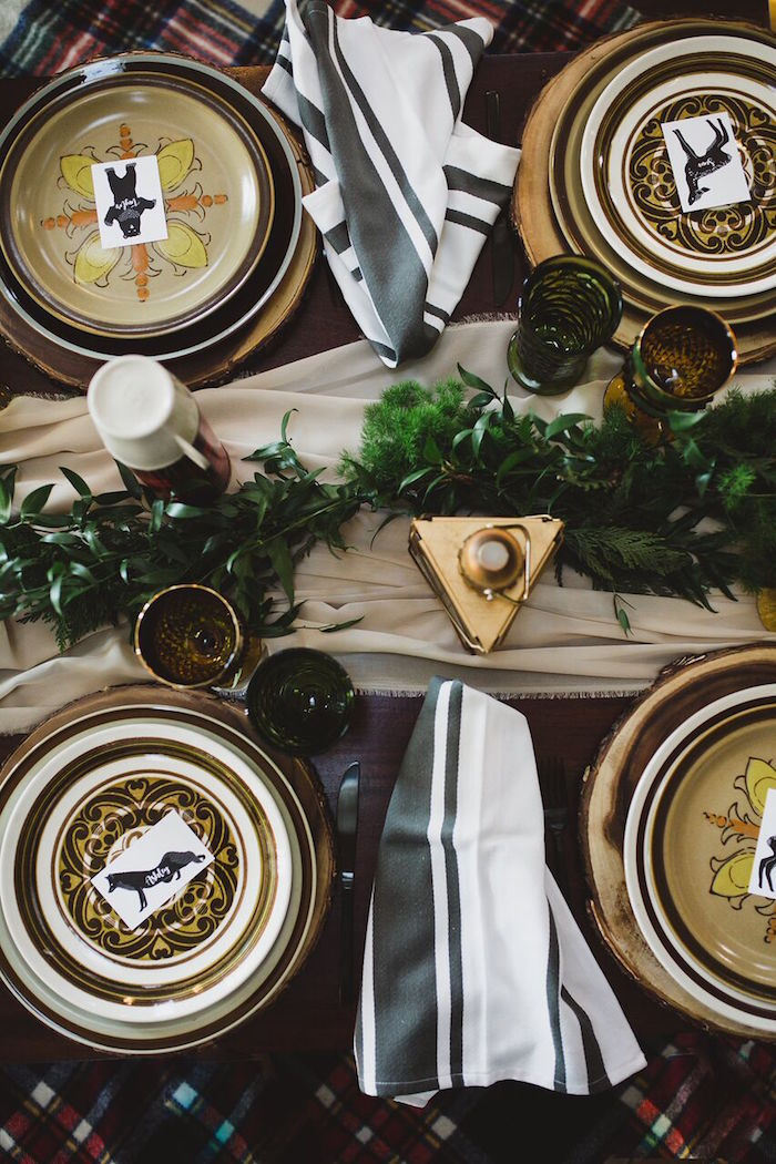 Guest tabletop from a Rustic Camping Baby Shower on Kara's Party Ideas | KarasPartyIdeas.com (8)