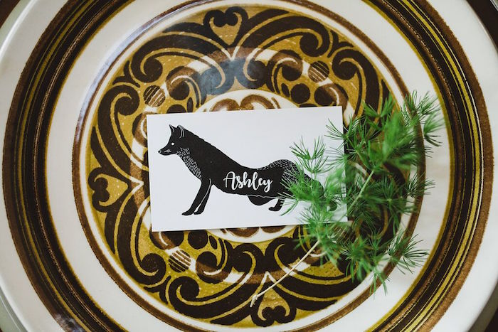 Fox place card from a Rustic Camping Baby Shower on Kara's Party Ideas | KarasPartyIdeas.com (7)