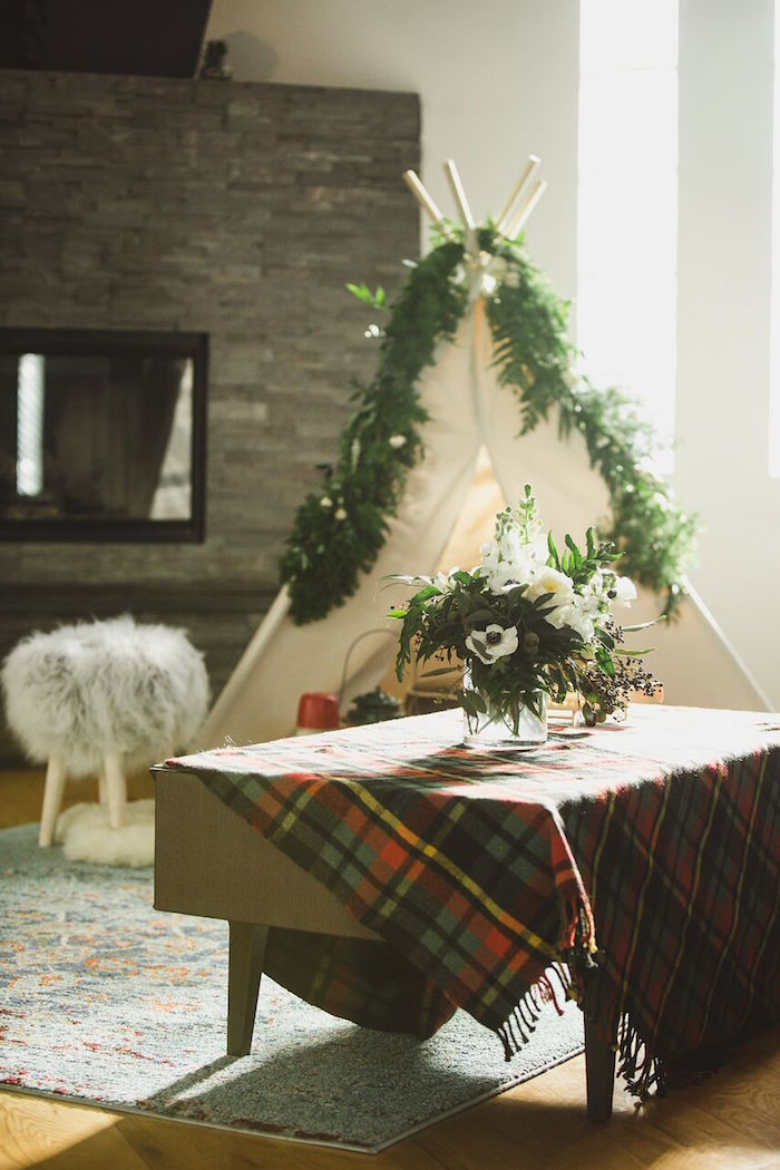Plaid table from a Rustic Camping Baby Shower on Kara's Party Ideas | KarasPartyIdeas.com (33)