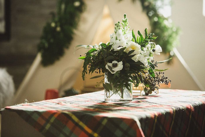 Blooms and plaid from a Rustic Camping Baby Shower on Kara's Party Ideas | KarasPartyIdeas.com (32)