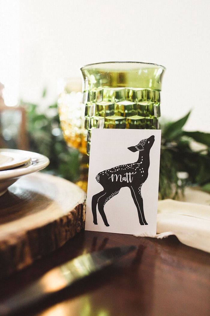 Fawn place card from a Rustic Camping Baby Shower on Kara's Party Ideas | KarasPartyIdeas.com (31)