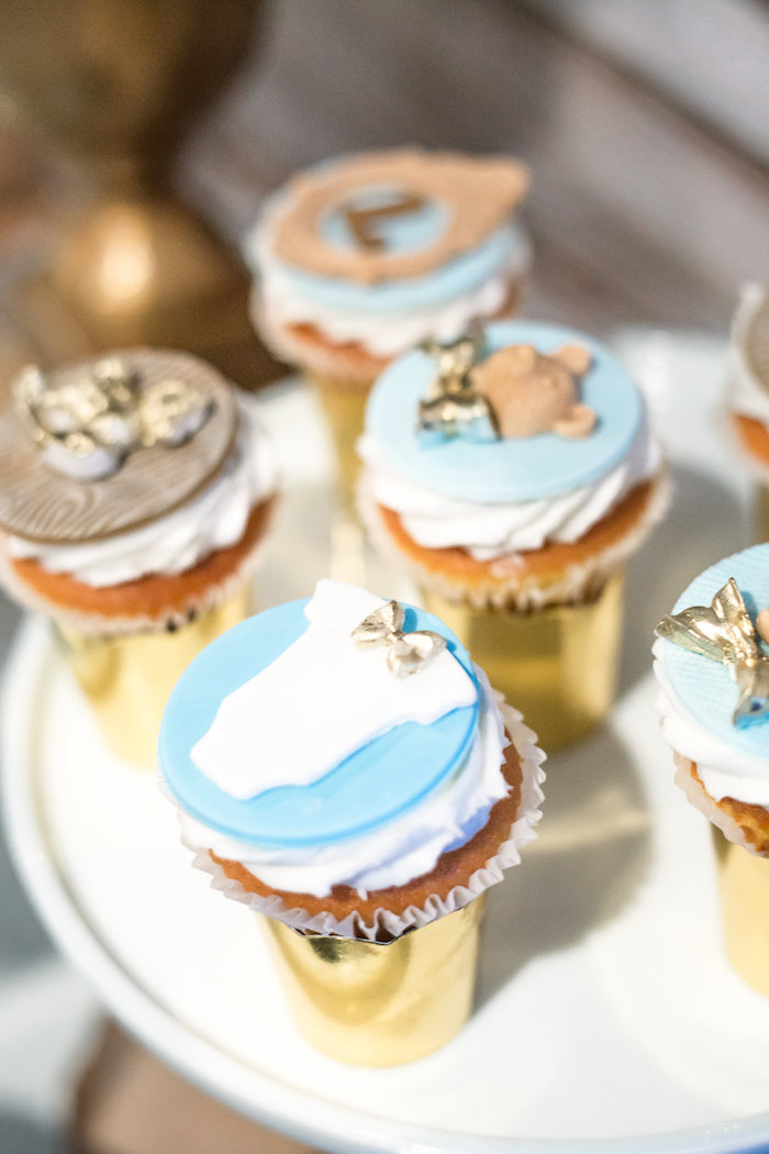 Cupcakes from a Rustic Chic Baby Shower on Kara's Party Ideas | KarasPartyIdeas.com (30)