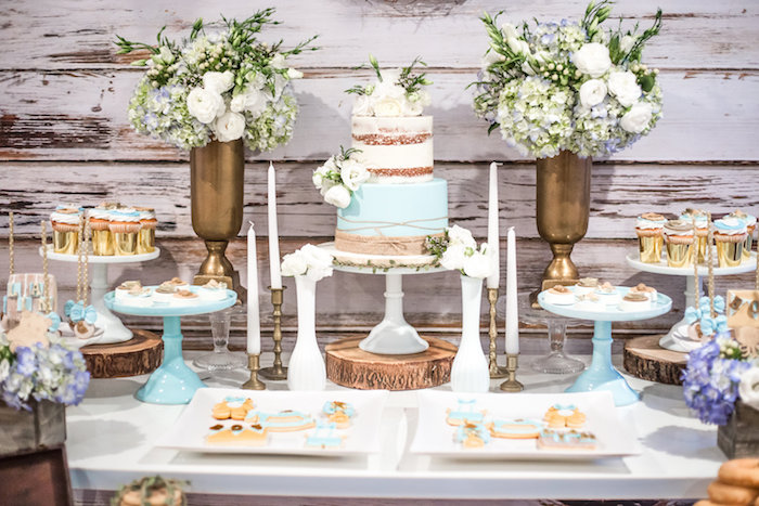 Dessert table from a Rustic Chic Baby Shower on Kara's Party Ideas | KarasPartyIdeas.com (25)