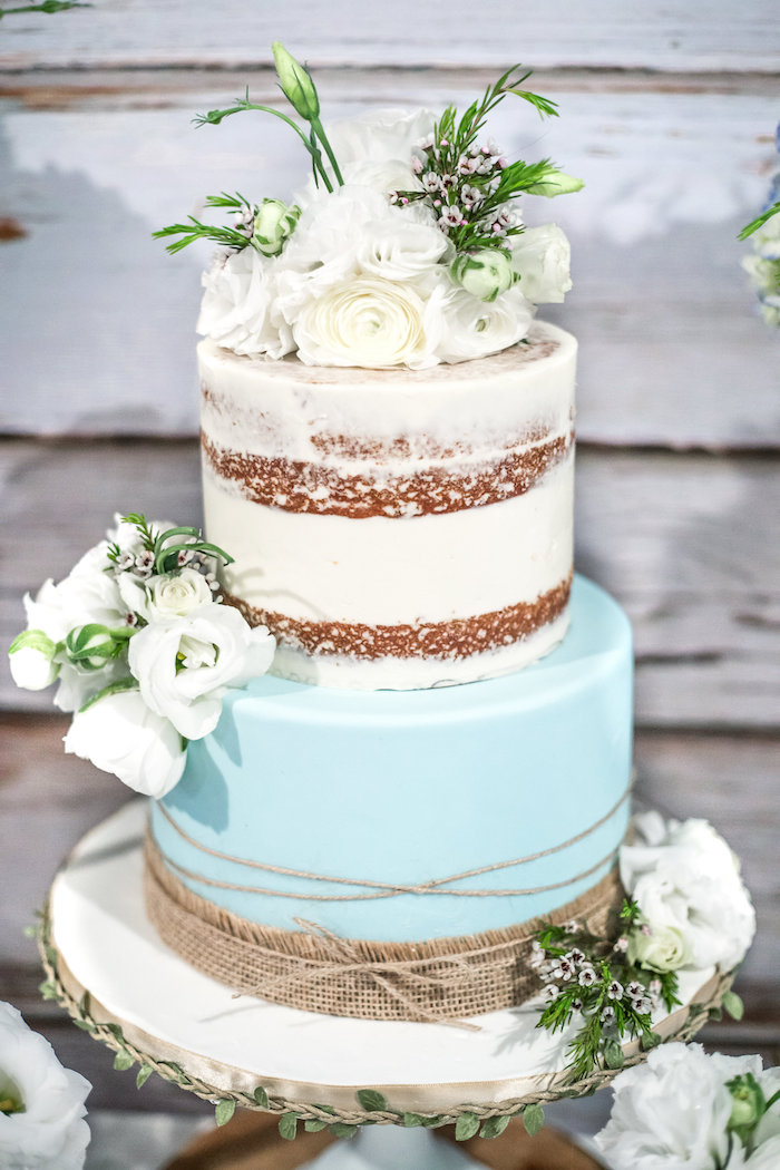 Cake from a Rustic Chic Baby Shower on Kara's Party Ideas | KarasPartyIdeas.com (23)
