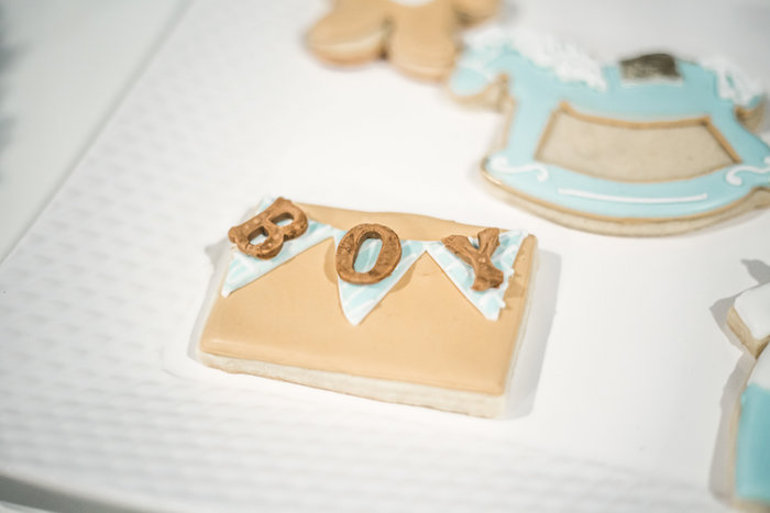 Pennant banner cookie from a Rustic Chic Baby Shower on Kara's Party Ideas | KarasPartyIdeas.com (21)
