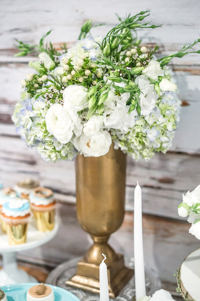Floral arrangement from a Rustic Chic Baby Shower on Kara's Party Ideas | KarasPartyIdeas.com (18)