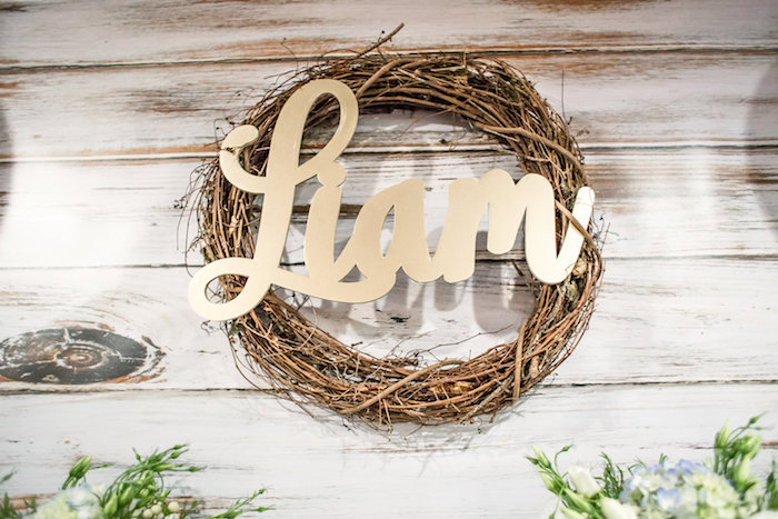 Grapevine wreath with name from a Rustic Chic Baby Shower on Kara's Party Ideas | KarasPartyIdeas.com (15)