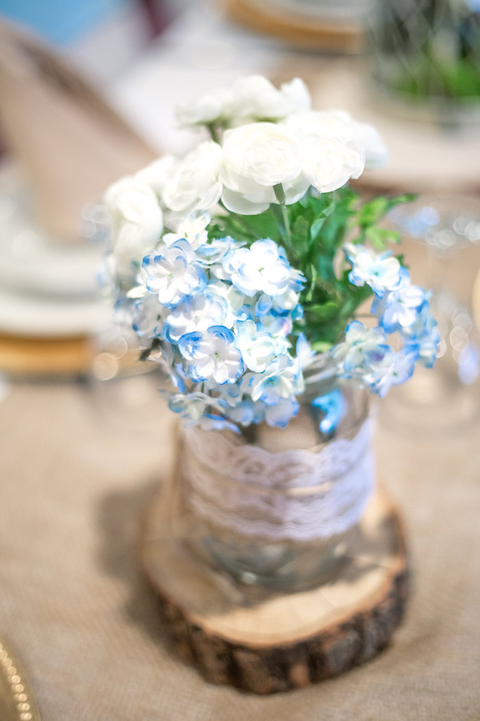 Flowers from a Rustic Chic Baby Shower on Kara's Party Ideas | KarasPartyIdeas.com (40)