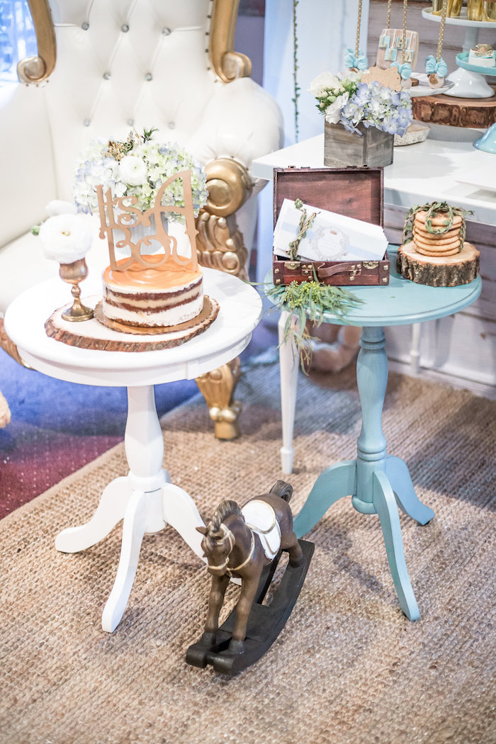 Round party tables from a Rustic Chic Baby Shower on Kara's Party Ideas | KarasPartyIdeas.com (12)