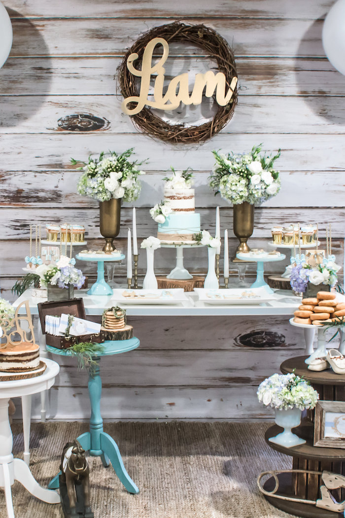 Kara 39 s party ideas blue rustic chic baby shower kara 39 s for Baby shower decoration ideas blog
