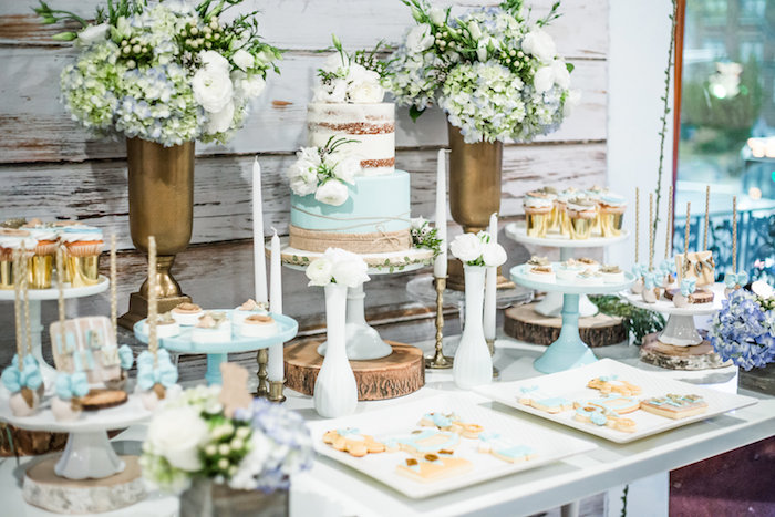 Dessert tablescape from a Rustic Chic Baby Shower on Kara's Party Ideas | KarasPartyIdeas.com (7)