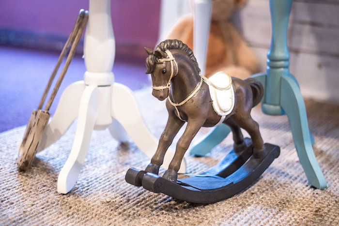 Mini rocking horse from a Rustic Chic Baby Shower on Kara's Party Ideas | KarasPartyIdeas.com (39)