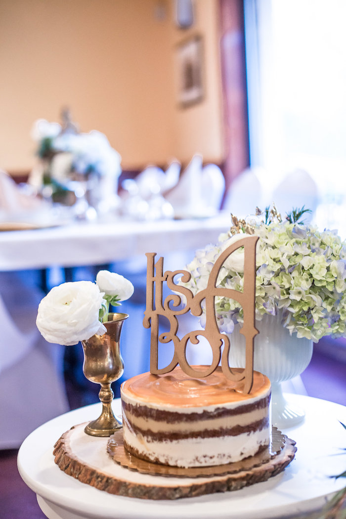 'It's a Boy' cake from a Rustic Chic Baby Shower on Kara's Party Ideas | KarasPartyIdeas.com (37)