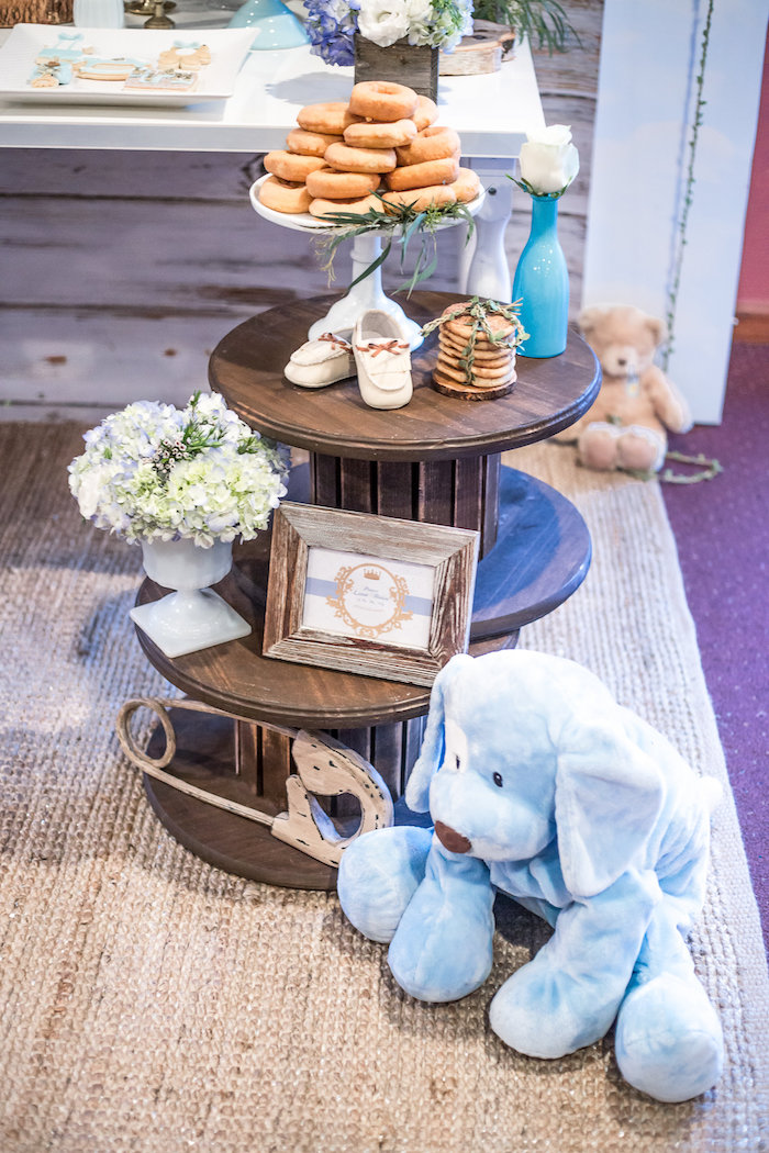 Wooden spool tables from a Rustic Chic Baby Shower on Kara's Party Ideas | KarasPartyIdeas.com (36)