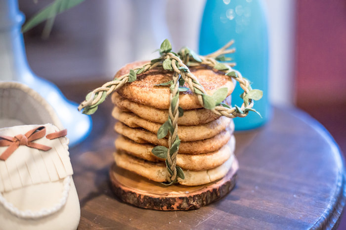 Stacked pancakes tied with vine from a Rustic Chic Baby Shower on Kara's Party Ideas | KarasPartyIdeas.com (34)