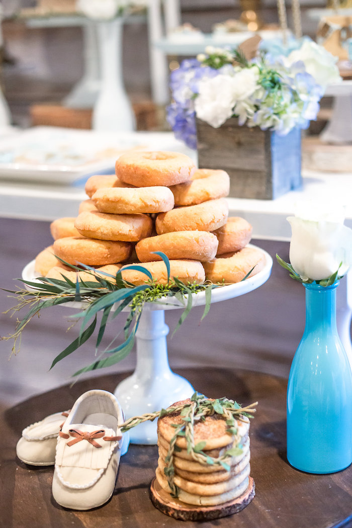 Stacked pancakes and doughnuts from a Rustic Chic Baby Shower on Kara's Party Ideas | KarasPartyIdeas.com (33)
