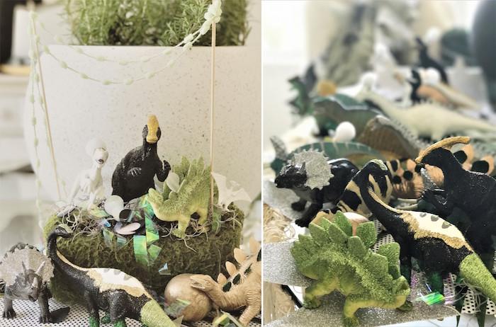 Dinosaur centerpiece from a Rustic Dinosaur Birthday Party on Kara's Party Ideas | KarasPartyIdeas.com (12)