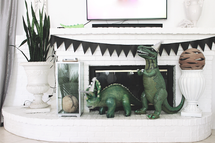 Dinosaur decor from a Rustic Dinosaur Birthday Party on Kara's Party Ideas | KarasPartyIdeas.com (7)