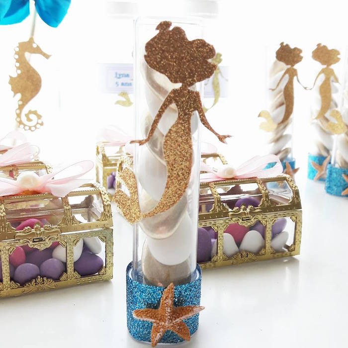 Mermaid favors from a Shiny Shimmering Mermaid Birthday Party on Kara's Party Ideas | KarasPartyIdeas.com (12)
