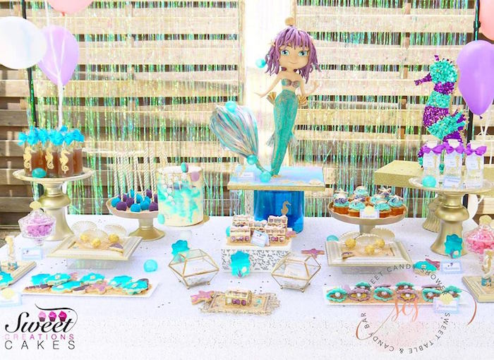 Under the sea mermaid dessert table from a Shiny Shimmering Mermaid Birthday Party on Kara's Party Ideas | KarasPartyIdeas.com (11)