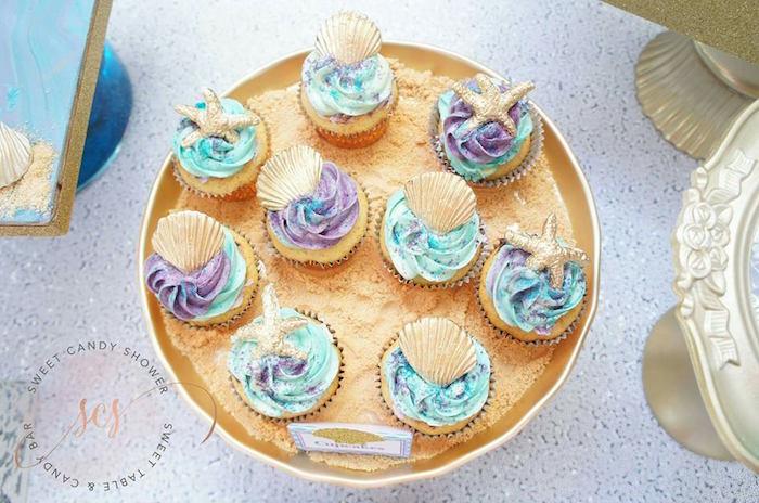 Seashell cupcakes from a Shiny Shimmering Mermaid Birthday Party on Kara's Party Ideas   KarasPartyIdeas.com (10)