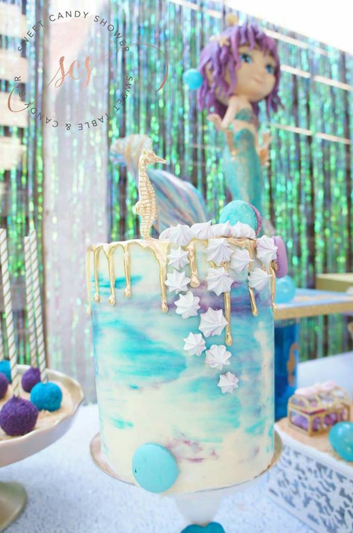 Gold ombre drip cake from a Shimmering Mermaid Birthday Party on Kara's Party Ideas | KarasPartyIdeas.com (9)