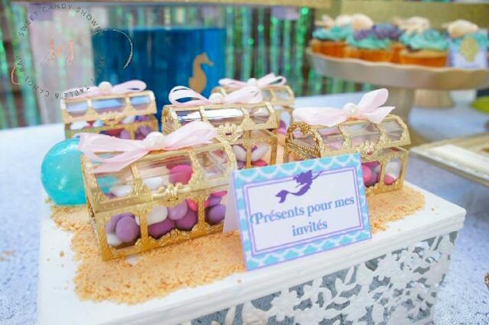 Treasure chests from a Shiny Shimmering Mermaid Birthday Party on Kara's Party Ideas | KarasPartyIdeas.com (8)