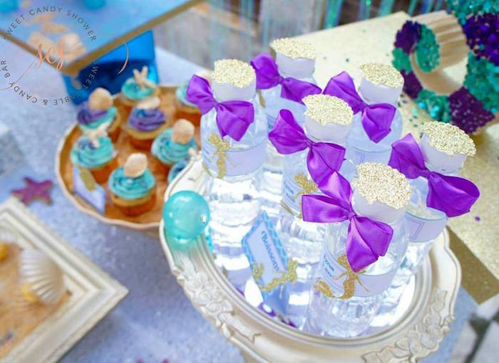 Mermaid water from a Shiny Shimmering Mermaid Birthday Party on Kara's Party Ideas | KarasPartyIdeas.com (7)