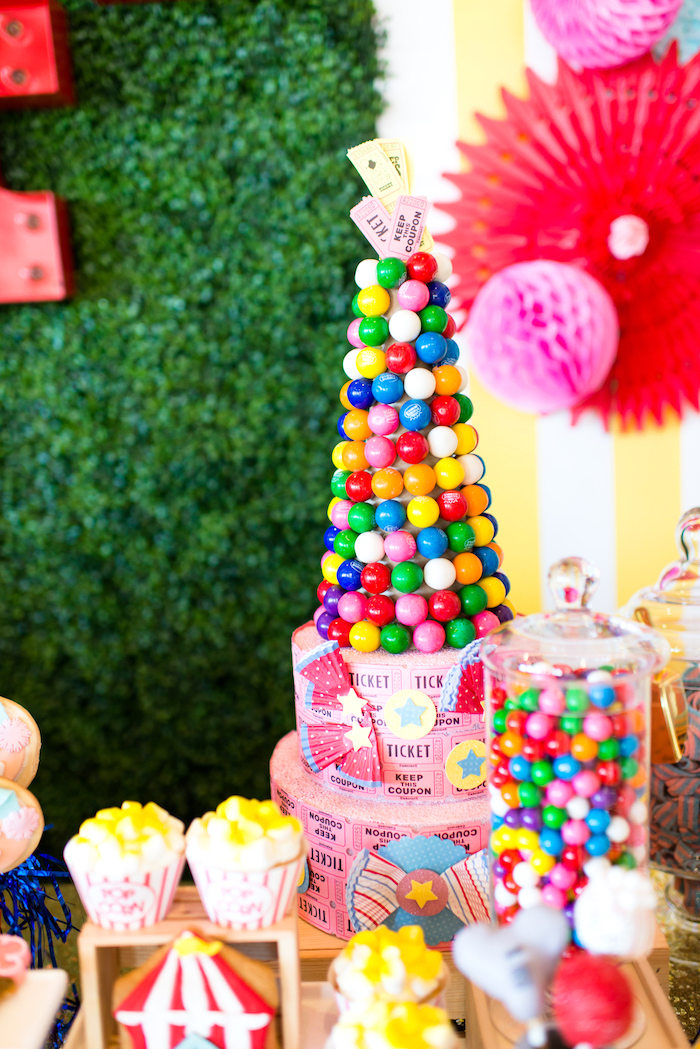 Gumball tower from a Showtime Circus Birthday Party on Kara's Party Ideas | KarasPartyIdeas.com (20)